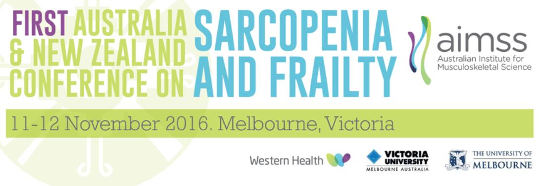 Poster von der ersten Sarkopenie- und Gebrechlichkeit-Konferenz von Australien und Neuseeland.