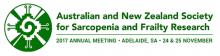 Logo de la Sociedad  Australiana y Neocelandesa de investigación en sarcopenia y fragilidad. Reunión annual 2017, Adelaide (Australia), 24-25 Noviembre